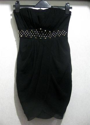 Платье vila clothes мини чёрное вечернее футляр с шипами страз...