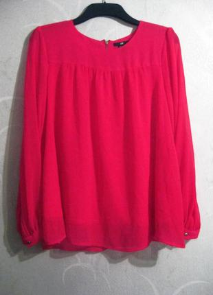 Блуза h&m яркая розовая длинный рукав