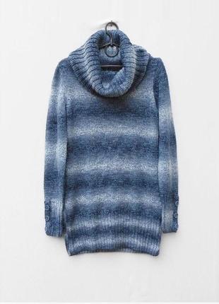 Вязаное теплое осеннее зимнее 21% шерстяное платье туника с го...