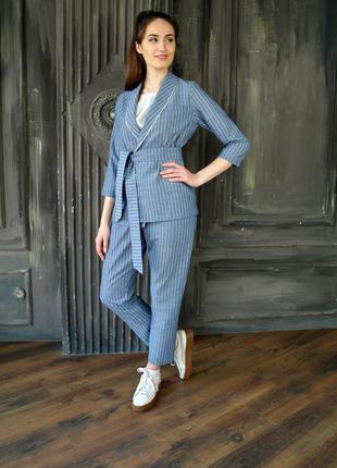 Льняной летний костюм, женский костюм из льна, пиджак,  брюки,...