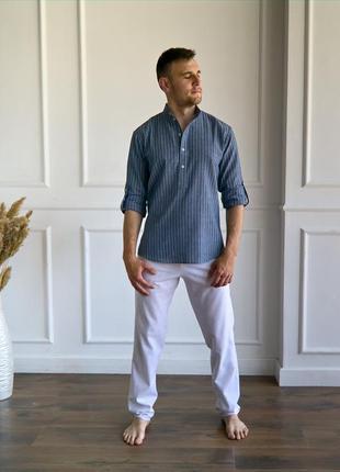 Мужская льняная рубашка, мужская рубашка из льна, стильная руб...