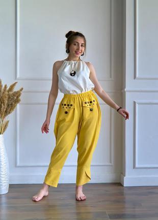 Льняные летние женские штаны, брюки из льна, штаны в стиле бохо