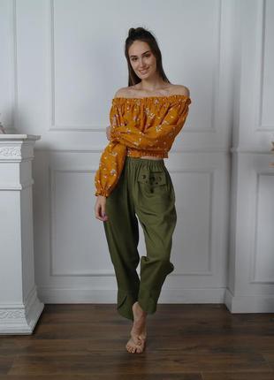 Оригинальные льняные брюки в стиле бохо, штаны бохо