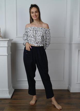 Брюки из льна в стиле бохо, женские льняные брюки, штаны
