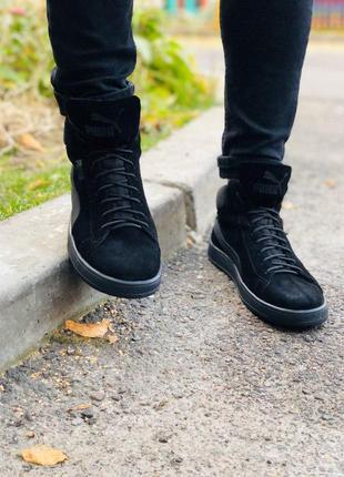 Мужские черные замшевые высокие кроссовки