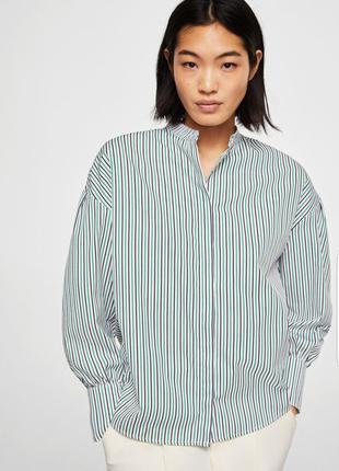 Стильная офисная рубашка, блуза mango в полоску.