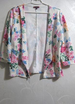Пиджак накидка missi london белый разноцветный цветочный принт...