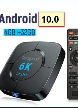 Transpeed 6K смарт тв приставка андроид , 4G/32G, IPTV h96 x96 TV