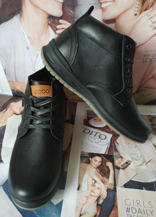 Ecco тёплые кожаные мужские зимние ботинки на шнурках туфли ме...