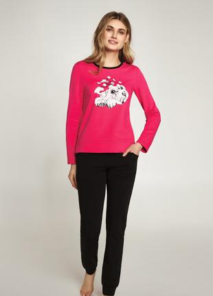 """Комплект женской пижамы чёрными штанами """"Мопс"""" арт. LNP 405/001*"""