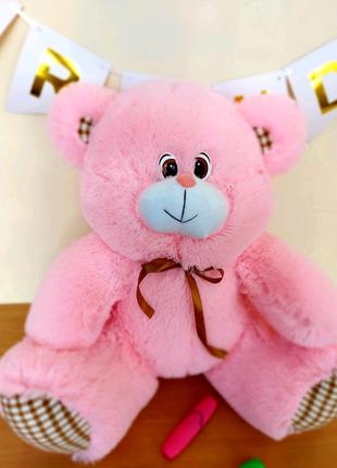 Мягкий розовый мишка 80см с бантиком. Игрушка плюшевая