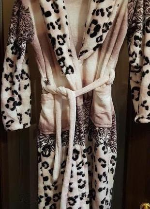 Велюровый женский теплый халат