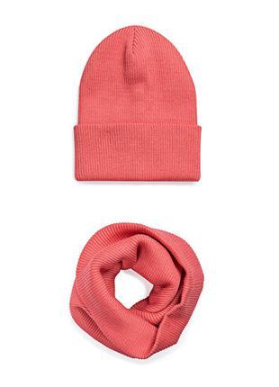 Комплект шапка и шарф снуд коралловый