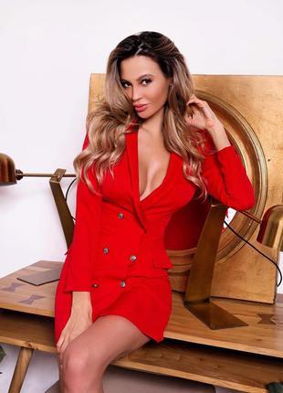 Красное платье пиджак женское короткое с пуговицами