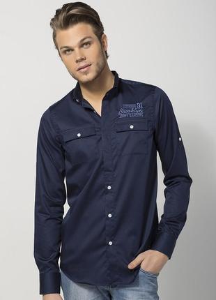 Рубашка мужская темно-синяя