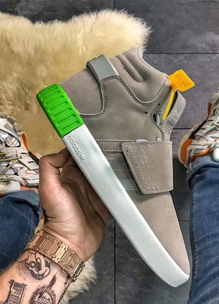 Кроссовки Adidas Tubular Invader «Grey/White Green»
