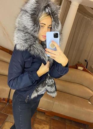 Женская короткая куртка парка с чернобуркой, бомпер с мехом, x...
