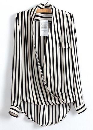 Рубашка в стиле зара  тренд 2018 на запах блуза в полоску бела...