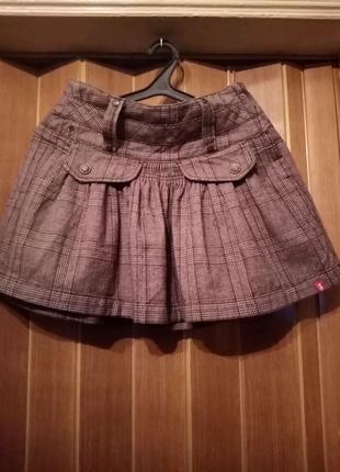 Клетчатая тёплая молодёжная юбка
