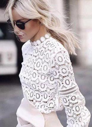Блузы/кофты кружево набивное плотное длинный рукав цвета белый...
