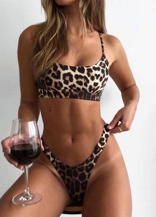 Купальник с леопардовым принтом с чашками высокая талия посадк...