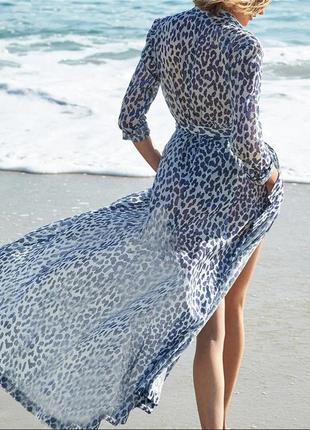 Пляжная туника парео накидка лео голубой леопардовый пояс в по...