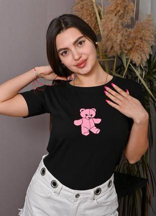 Черная футболка женская с принтом 🧸 базовая футболка с рисунком