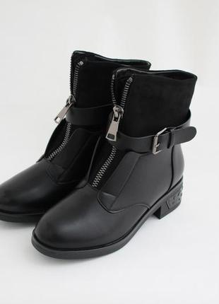 Распродажа! женские черные зимние ботинки (сапоги, полусапоги)
