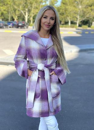 Пальто женское лаванда кашемир шерсть
