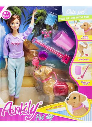 Красивая кукла с длинными волосами, кукла с собакой