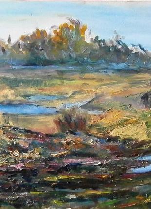 "Картина ""Осенняя панорама"" 80х30см живопись холст масло"