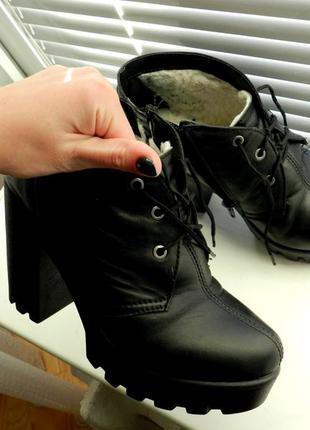 Кожа, торг , ботинки, сапожки, на тракторной подошве, каблук