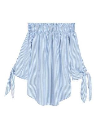 Блузка в полоску с открытыми плечами h&m
