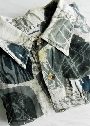 Рубашка унисекс в принт, бренд, хаки, бренд оригинал дефект