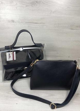 Набор 2в1 прозрачная сумка и косметичка-клатч синего цвета с с...