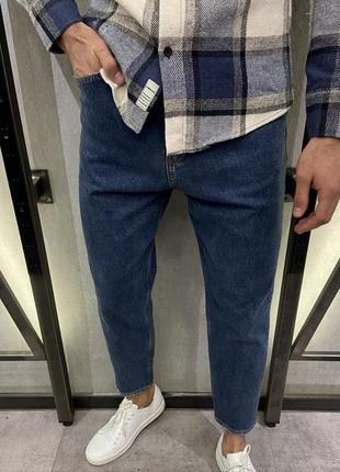 Джинсы мужские мом базовые момы синие турция / джинси рвані мо...