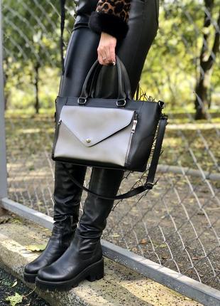 Стильная молодежная сумка черная с металликом