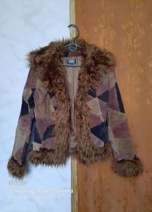 Креативная кожаная куртка с мехом