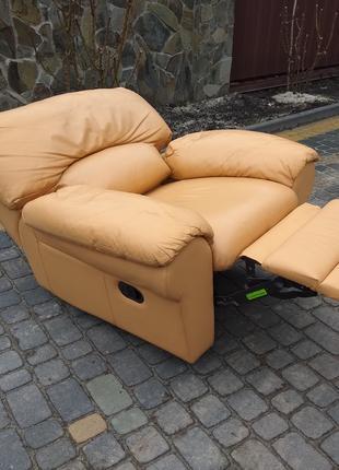 Кресло кожаное функция реклайнер, офисное, крісло для релаксу