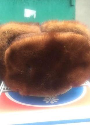 Шапка нороковая ушанка норка ссср обманка мех натуральный
