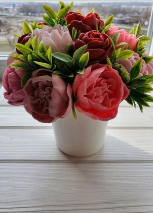 Цветы букет из мыла ручной работы подарок на день рождения