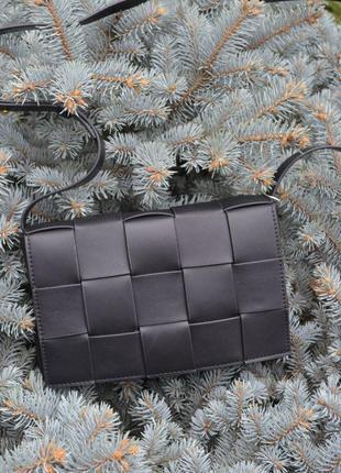 Женская кожаная сумка черная жіноча шкіряна чорна Bottega Veneta