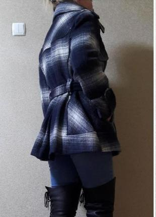 Теплое шерстяное пальто тренч с поясом и высоким воротом л