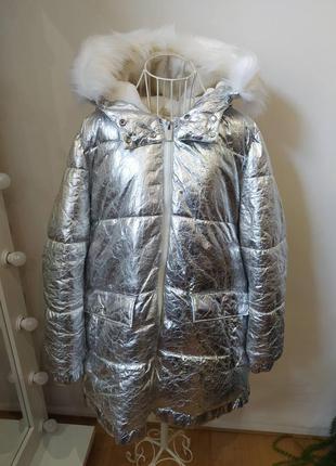 Теплая металлизированная куртка-пальто calvin klein