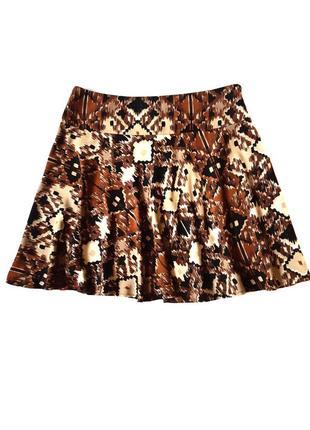 Летняя юбка солнце-клеш с принтом, размер l-xl