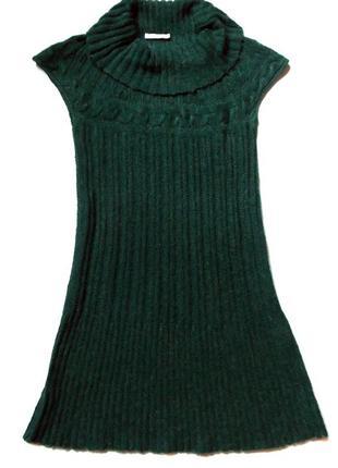 Мохеровое вязаное платье с коротким рукавом
