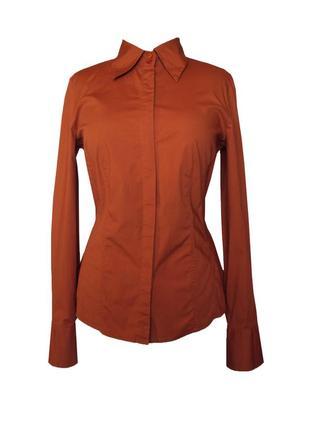 Стильная блузка с длинным рукавом терракотового цвета