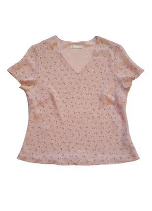 Блузка цветочный принт, двойной слой ткани