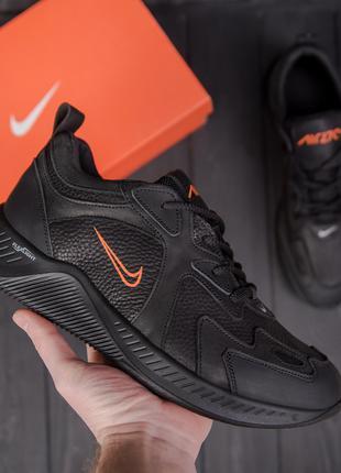Мужские кожаные кроссовки NIKE Clasic Black