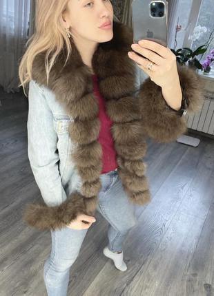Джинсовая куртка с натуральным песцом s-m,2в1  подарок